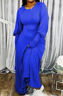Blue Big Yards Cotton Blend Loose Long Sleeve Round Collar Collect Waist Maxi Dress BDF8002-3