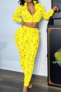 Yellow Women Autumn Hole Zipper Tops Coat Pure Color Mid Waist Pants Sets Q964-1