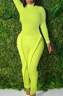 Neon Green Simple Wholesale Long Sleeve High Neck Bodycon Tops Pencil Pants Slim Fitting Sets L0363-3