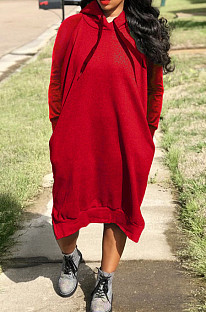 Red Cotton Blend Casual Pure Color Long Sleeve Loose Hooded Dress H1726-2