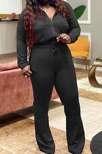 Black Big Yards Autumn Winter Long Sleeve Zip Front Tops High Waist Flare Pants Fat Women Sport Sets WM21821-5