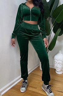 Green Casual Velvet Pure Color Long Sleeve Zip Front Hoodie High Waist Elasticbelt Sweat Pants Sets SY8826-2