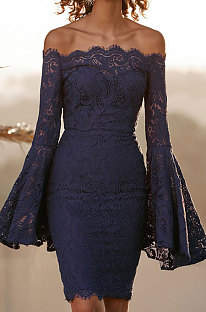 Navy Blue Sexy Fashion A Wrod Shoulder Horn Sleeve Lace Strapless Hip Dress QZ3072-2
