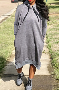 Grey Cotton Blend Casual Pure Color Long Sleeve Loose Hooded Dress H1726-3