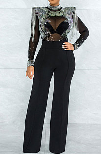 Black Women Fashion Sexy Bodycon High Collar Perspectivity Bling Bling Tassel Bodycon Jumpsuits CCY9232B-1