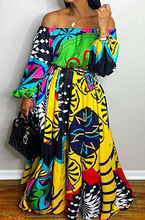 Multicolor Printing Wholesale Women A Wrod Shoulder Puff Sleeve Collect Waist Swing Maxi Dress BDF8098
