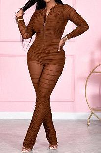 Brown Women Fashion Sexy Mesh Spaghetti Long Sleeve Zipper Ruffle Bodycon Jumpsuits FFE186-1