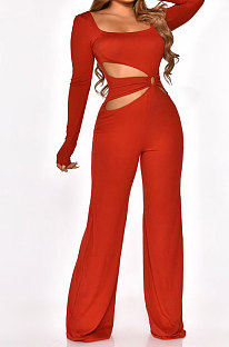 Red Sexy Cotton Blend Pure Color Long Sleeve Hollow Out Wide Leg Jumpsuits QZ6128-2
