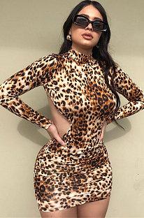 Leopard Women Sexy Backless Long Sleeve Half Turtle Neck Bodycon Mini Dress FFE182