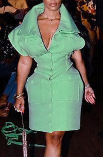 Green Women Stand Collar High Waist Warm Solid Mini Dress HLR19374