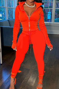 Red Wholesale Pure Color Long Sleeve Zip Front Tops Trousers Slim Fitting Sport Sets TC043-8