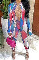 Blue Euramerican Women Gradient Sexy Bandage Hollow Out Crop Bodycon Jumpsuits BYQ1033-1