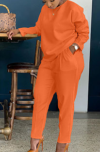 Orange Simple Wholesale Long Sleeve Round Neck T-Shirts Trousers Solid Color Sets BBN202-3