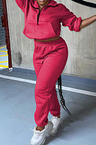 Rose Red Autumn Winter Long Sleeve Zip Front Jumper Mid Waist Ankle Banded Pants Sport Sets TC089-2