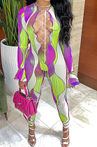 Purple Euramerican Women Gradient Sexy Bandage Hollow Out Crop Bodycon Jumpsuits BYQ1033-2