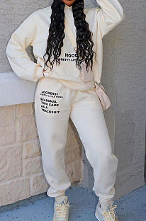 Beige Casual Autumn Winter Letter Printing Long Sleeve Hoodie Sweat Pants Sets TC042-1