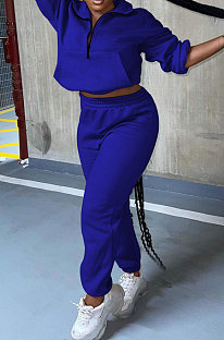 Drak Blue Autumn Winter Long Sleeve Zip Front Jumper Mid Waist Ankle Banded Pants Sport Sets TC089-5