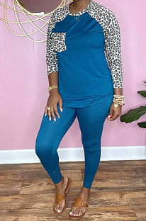 Blue Cotton Blend Leopard Print Spliced Long Sleeve Round Neck T-Shirts Pencil Pants Sport Sets YM220-5