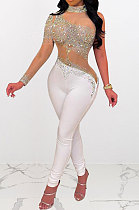 White Woemn Autumn Winter Sexy Coloured Diamond Perspectivity Bling Bling Bodycon Jumpsuits Q966-1
