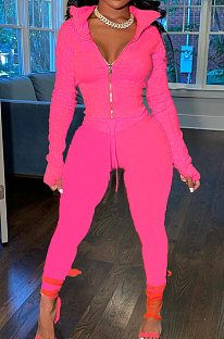 Pink Wholesale Pure Color Long Sleeve Zip Front Tops Trousers Slim Fitting Sport Sets TC043-7