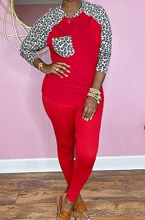 Red Cotton Blend Leopard Print Spliced Long Sleeve Round Neck T-Shirts Pencil Pants Sport Sets YM220-1