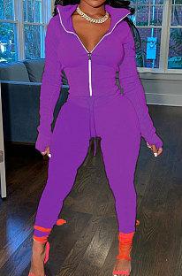 Drak Purple Wholesale Pure Color Long Sleeve Zip Front Tops Trousers Slim Fitting Sport Sets TC043-3