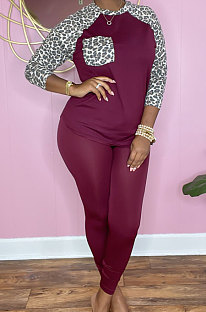 Wine Red Cotton Blend Leopard Print Spliced Long Sleeve Round Neck T-Shirts Pencil Pants Sport Sets YM220-4