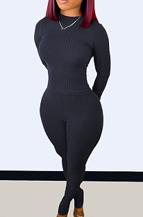 Black Wholesale Newest Ribber Long Sleeve O Neck T-Shirts Bodycon Pants Slim Fitting Solid Color Sets TC095-5
