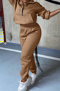 Brow Autumn Winter Long Sleeve Zip Front Jumper Mid Waist Ankle Banded Pants Sport Sets TC089-1