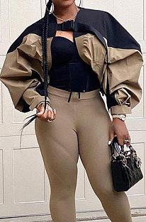 Khaki Street Style Short Coat Lantern Sleeve Contrast Color Jacket HLR19510
