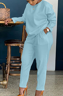 Light Blue Simple Wholesale Long Sleeve Round Neck T-Shirts Trousers Solid Color Sets BBN202-1