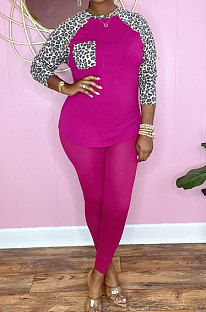 Rose Red Cotton Blend Leopard Print Spliced Long Sleeve Round Neck T-Shirts Pencil Pants Sport Sets YM220-3