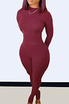 Wine Red Wholesale Newest Ribber Long Sleeve O Neck T-Shirts Bodycon Pants Slim Fitting Solid Color Sets TC095-3