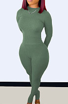Grey Green Wholesale Newest Ribber Long Sleeve O Neck T-Shirts Bodycon Pants Slim Fitting Solid Color Sets TC095-2