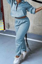 Sky Blue Autumn Winter Long Sleeve Zip Front Jumper Mid Waist Ankle Banded Pants Sport Sets TC089-3