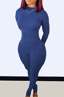 Blue Wholesale Newest Ribber Long Sleeve O Neck T-Shirts Bodycon Pants Slim Fitting Solid Color Sets TC095-1