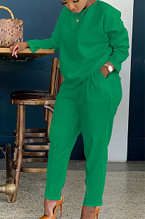 Green Simple Wholesale Long Sleeve Round Neck T-Shirts Trousers Solid Color Sets BBN202-5