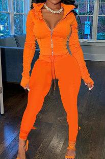 Orange Wholesale Pure Color Long Sleeve Zip Front Tops Trousers Slim Fitting Sport Sets TC043-2