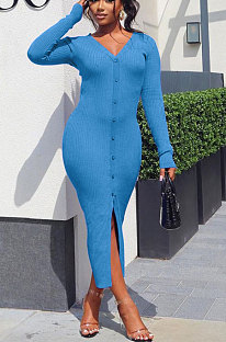 Blue Women Ribber Split Long Sleeve V Collar Single-Breasted Solid Color Bodycon Sexy Midi Dress Q969-1