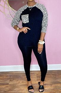 Black Cotton Blend Leopard Print Spliced Long Sleeve Round Neck T-Shirts Pencil Pants Sport Sets YM220-2