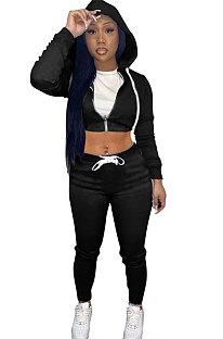 Black Women Cardigan Short Crop Zipper Hooded Tops Casual Pants Sets Q973-2