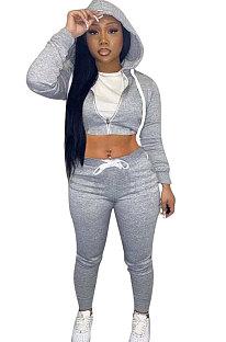 Gray Women Cardigan Short Crop Zipper Hooded Tops Casual Pants Sets Q973-1