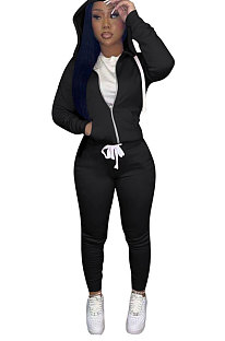 Black Euramerican Women Pure Color Skinny Drawstring Cradigan Hooded Fleece Bodycon Pants Sets XQ1152-4