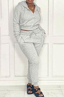 Gray Women Hooded Zipper Pure Color Casual Pants Sets QHH8666-1