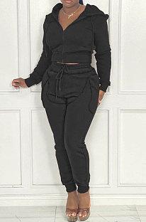 Black Women Hooded Zipper Pure Color Casual Pants Sets QHH8666-2
