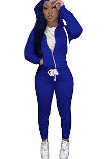 Blue Euramerican Women Pure Color Skinny Drawstring Cradigan Hooded Fleece Bodycon Pants Sets XQ1152-7