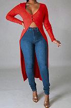 Red Euramerican Women Solid Color Cardigan Button Ribber Irregular Coat Q970-1