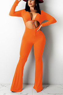 Orange Women Solid Color Ribber Tied Crop High Waist TinyFlared Bodycon Jumpsuits Q971-2
