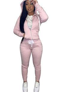Pink Euramerican Women Pure Color Skinny Drawstring Cradigan Hooded Fleece Bodycon Pants Sets XQ1152-1