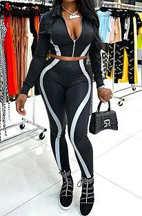 Black Women Trendy Casual Long Sleeve Cardigan Zipper Dew Waist Sport Pants Sets BYQ1032